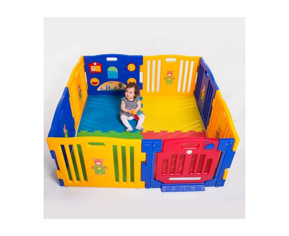 Parque gemelar Ibaby Play Twin XXL 8 piezas + colchoneta