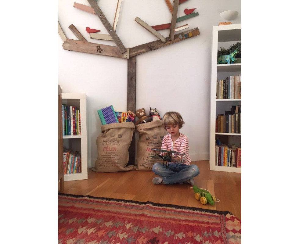 Saco navide o de arpillera personalizado para los regalos - Saco arpillera ...