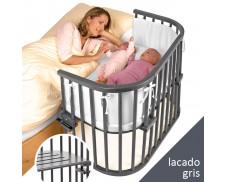 Cuna de colecho gemelar gris Babybay Maxi
