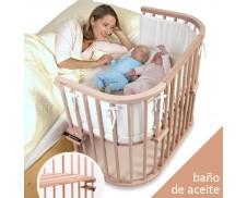Cuna de colecho gemelar Babybay Maxi madera aceitada