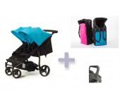Pack básico Baby Monsters Easy Twin con capazos blandos y barra delantera
