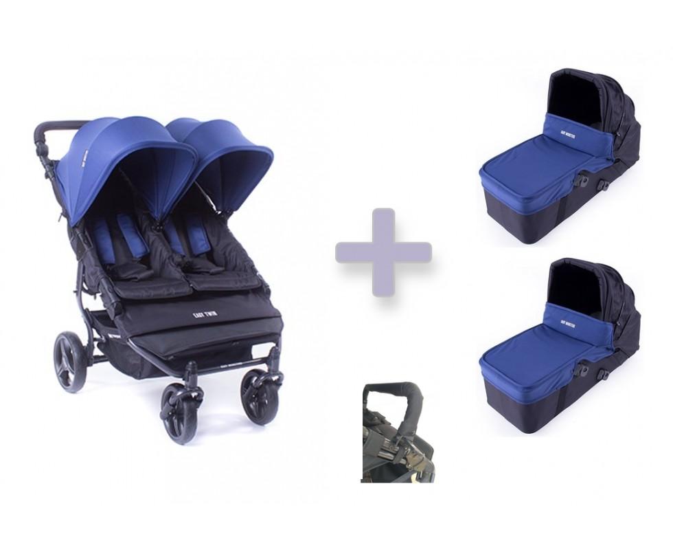 Pack básico Baby Monsters Easy Twin 3.0 con capazos duros y barra delantera