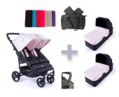 Pack Bolso Baby Monsters Easy Twin 2.0 con capazos duros y barra delantera