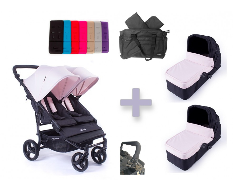 Pack Bolso Baby Monsters Easy Twin 3.0 con capazos duros y barra delantera