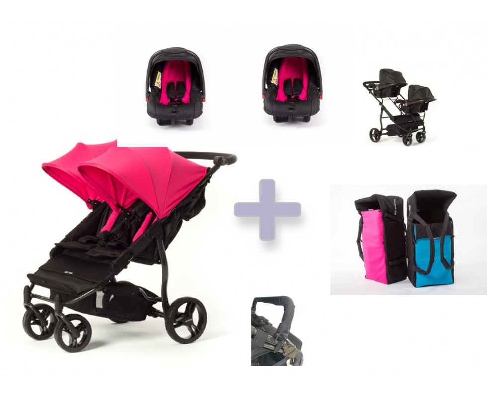 Pack auto Baby Monsters Easy Twin 3.0 con capazos blandos