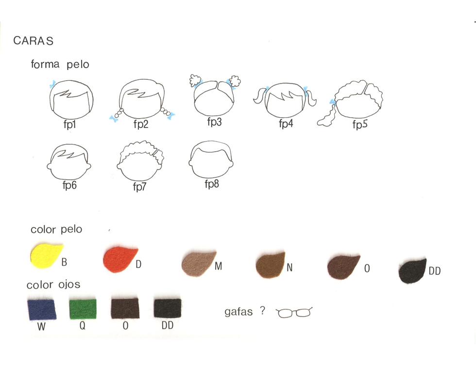 opciones de pelo y ojos